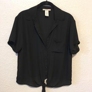 Tie Waist Button Front Blouse